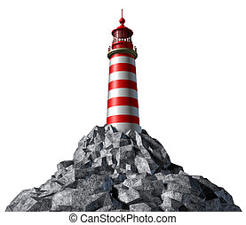 Lighthouse on a rock mountain and strategic guidance symbol...