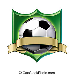 Soccer crest award with blank gold label showing a soccer...