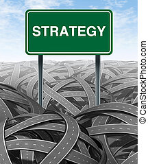 Business strategy and challenge with green highway sign for...