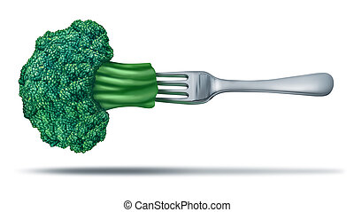 Healthy eating with brocoli on a fork - Health food with...