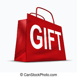Gift red shopping bag with gifting packaging representing...