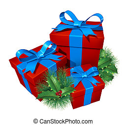 Christmas gifts with pine holly showing red presents and...