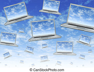 Cloud computing concept as a technology symbol of an...