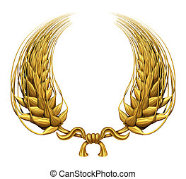 Gold laurel wreath of golden wheat representing an award and...
