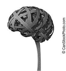 Human Brain Dementia concept with tangled roads in the shape...