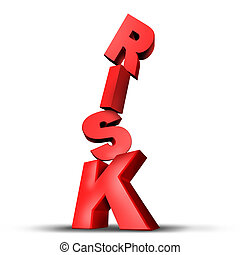 Risks symbol with dimensional unsteady text letters on the...