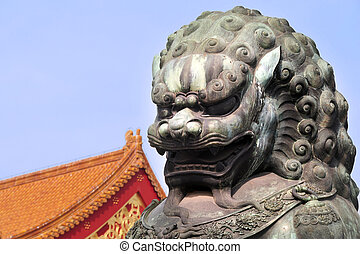 Entrance of Forbidden City, China - Beijing Bronze lion at...