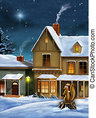 Christmas village - Beautiful christmas landscape with a...