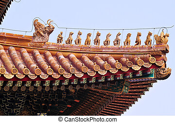 Close Up Building Detail, Beijing, China - Decoration detail...