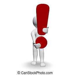 Exclamation mark - 3D Human charcter holding red Exclamation...