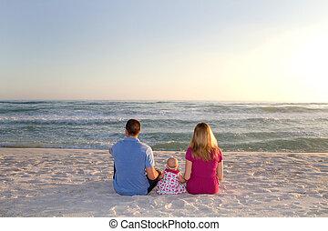 Family Watching Ocean Waves