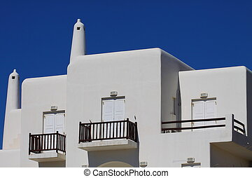 Traditional Cycladic architecture of Mykonos. (Greece, Cyclades)