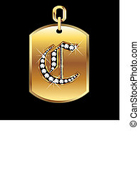 C medal in gold and diamonds vector