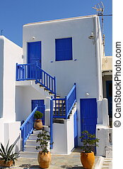 Traditional Cycladic architecture of Mykonos. (Greece,...