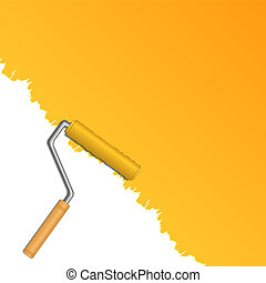 Paint Roller - Vector background with roller and paint
