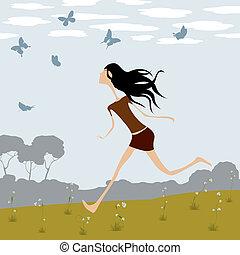 Fantasy illustration, little girl chasing butterflies