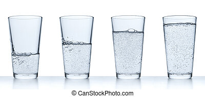 glass with water - set of glasses filled with water on white...