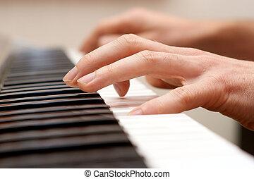 Manos, pianista, piano, jugador