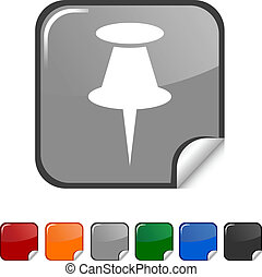 Drawing-pin icon. - Drawing-pin sticker icon. Vector...