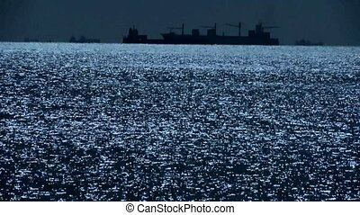 Sparkling water surface and Vessel...