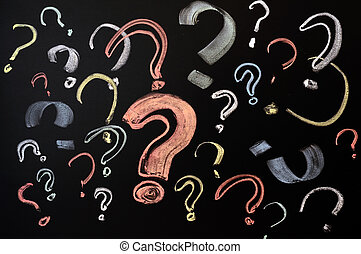 Colorful question marks - Questions, decision making or...
