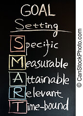 Goal setting SMART written with chalk on a blackboard
