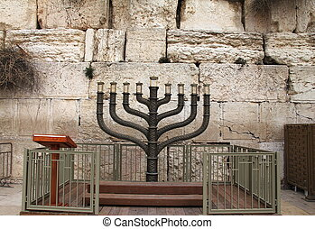 Jewish hanukkah candle holder at the Western Wall