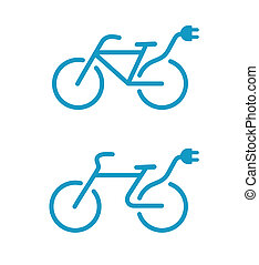 Electric bicycle icons - illustration of Simple Electric...