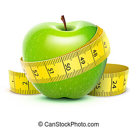 Green apple - illustration of Green apple with yellow...