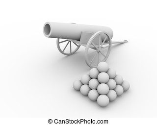 Cannon with projectiles - Old fashioned cannon with...