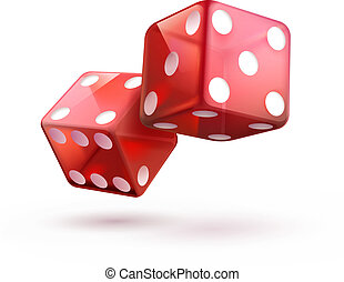 red dices - Vector illustration of shiny red dices on the...