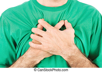 Both man's hands on breast because of hard breathing,...