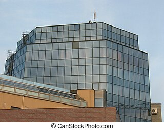 Facade of High-tech style building