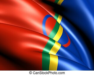 Sami flag Close up 3D