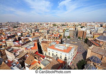 Valencia, Spain. Skyline seen from famous Cathedral Tower.