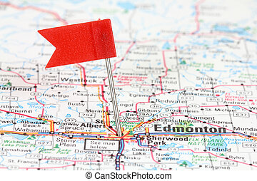 Edmonton in Alberta, Canada. Red flag pin on an old map...