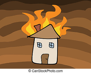 House fire doodle Tragic disaster - insurance claim concept...