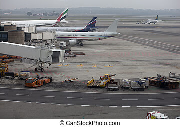 Aeroplanes parked  - Three aeroplanes parked at airport
