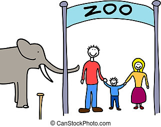 Family visit to zoo - Happy family: mother, father and...