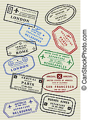 Passport page - Various colorful visa stamps not real on a...