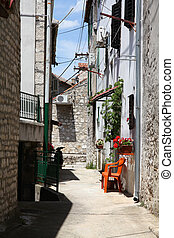 Sibenik - Croatia - Sibenik in Dalmatia. Old town narrow...