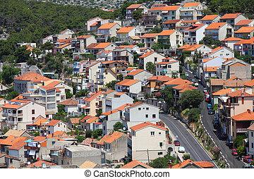 Croatia - Sibenik in Dalmatia. Mediterranean cityscape of...