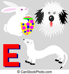 E Easter bunny, ermine, english dog - Illustration of...