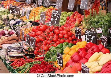 Organic market - Vegetable stand at a marketplace in Vienna,...