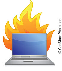 Laptop icon with flames rising