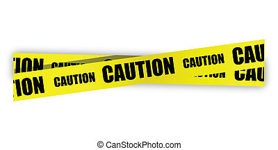 yellow caution tape illustration design over white