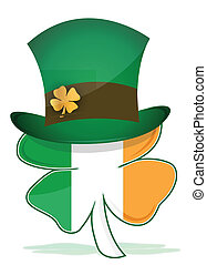 St Patricks hat with irish clover illustration design