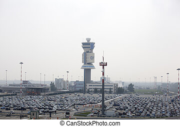 Airport car parking - Many cars in the airport parking