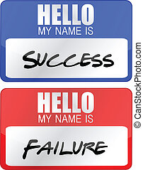 success, failure name tags - success, failure red and blue...