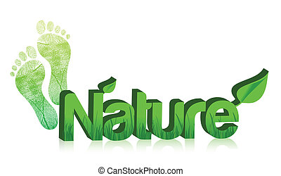 3d nature text and feet illustration design on white